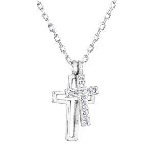 Stříbrný náhrdelník se zirkonem bílý křížek 12012.1 12012.1