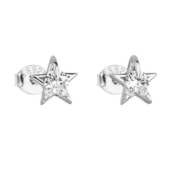 Stříbrné náušnice pecka se zirkonem bílá hvězdička 11105.1 11105.1