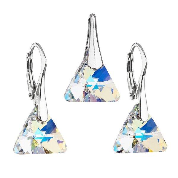 Sada šperků s krystaly Swarovski náušnice a přívěsek ab efekt trojúhelník 39174.2 39174.2