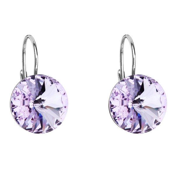 Stříbrné náušnice visací s krystaly Swarovski fialové kulaté 31106.3 violet 31106.3
