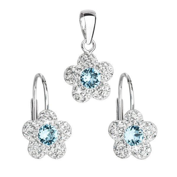 Sada šperků s krystaly Swarovski náušnice a přívěsek modrá kytička 39162.3 39162.3