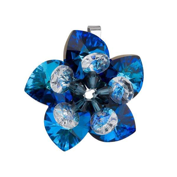 Stříbrný přívěsek s krystalem Swarovski modrá květina 34072.5 34072.5 001BBL