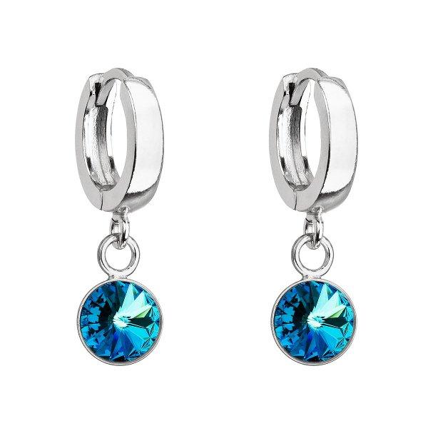 Stříbrné visací náušnice kroužky se Swarovski krystalem 31300.5 bermuda blue 31300.5