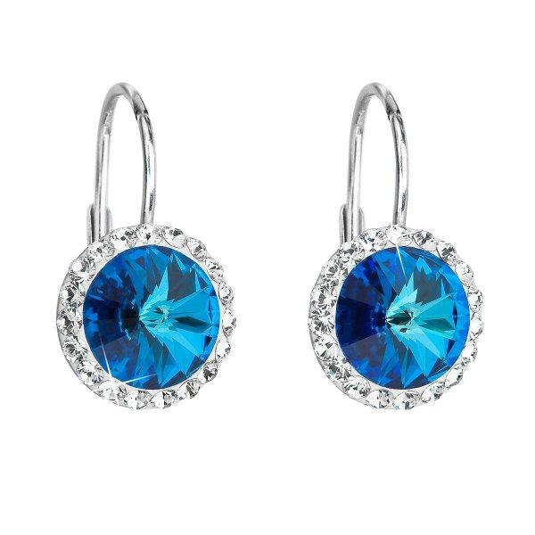 Stříbrné náušnice visací s krystaly Swarovski modré kulaté 31216.5 31216.5
