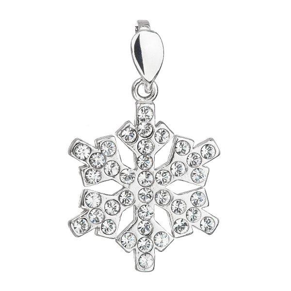 Stříbrný přívěsek s krystaly Swarovski bílá vločka 34221.1 34221.1