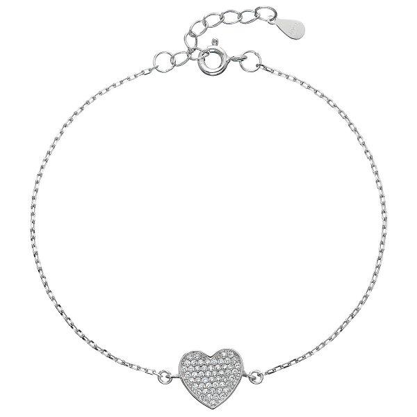 Stříbrný náramek se zirkony srdce 13007.1 13007.1
