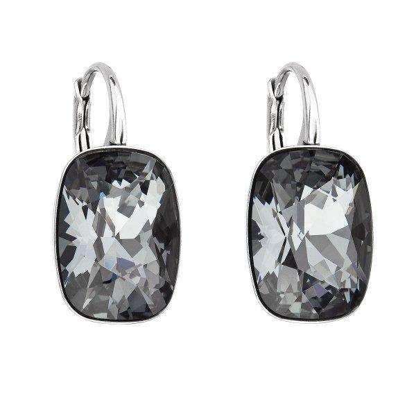 Stříbrné náušnice visací s krystaly Swarovski černý obdélník 31277.5 31277.5