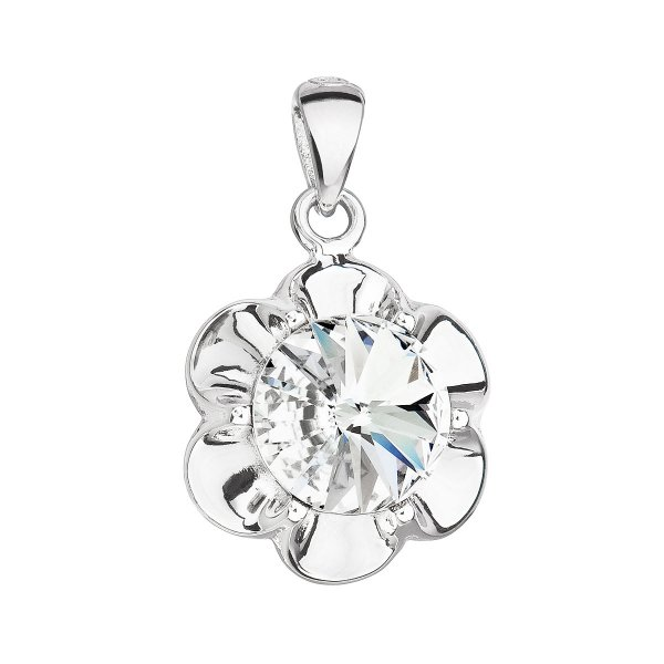 Stříbrný přívěsek s krystalem Swarovski bílá kytička 34230.1 34230.1