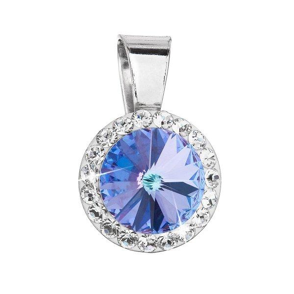 Stříbrný přívěsek s krystaly Swarovski fialový kulatý 34251.5 34251.5