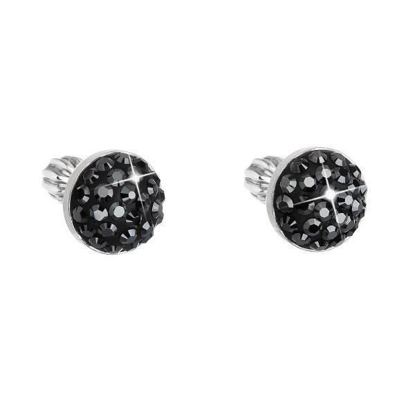 Stříbrné náušnice pecka s krystaly Swarovski černé kulaté 31336.5 hematite 31336.5