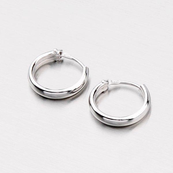 Náušnice - stříbrné kruhy půlkulaté M6175-02