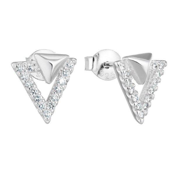 Stříbrné náušnice pecka se zirkonem bílý trojúhelník 11081.1 11081.1