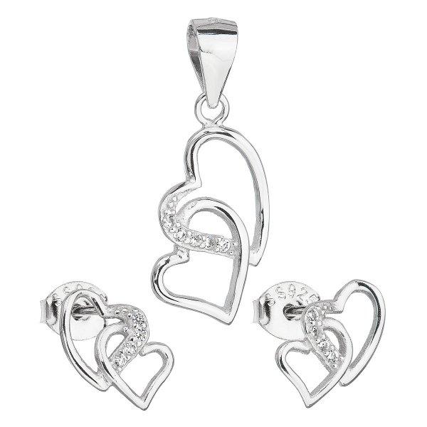 Sada šperků se zirkonem náušnice a přívěsek bílé srdce 19015.1 19015.1