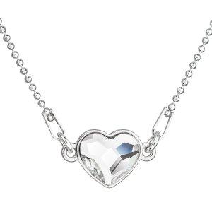 Stříbrný náhrdelník s krystalem Swarovski bílé srdce 32061.1 32061.1