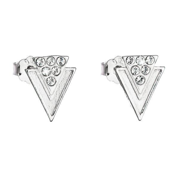 Stříbrné náušnice pecka s krystaly Swarovski bílé 31226.1 31226.1