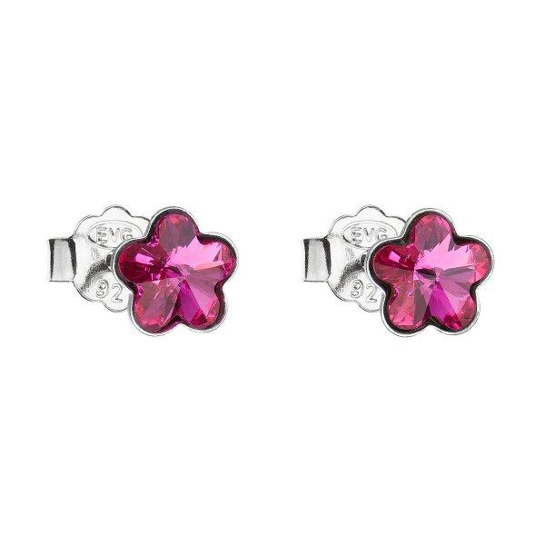 Stříbrné náušnice pecka s krystaly Swarovski růžová kytička 31080.3 fuchsia 31080.3