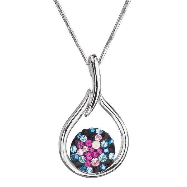 Stříbrný náhrdelník se Swarovski krystaly kapka 32075.4 galaxy 32075.4