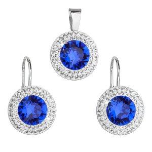 Sada šperků s krystaly Swarovski náušnice a přívěsek modré kulaté 39107.3 majestic blue 39107.3