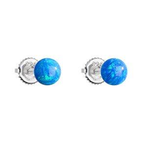 Stříbrné náušnice pecky se syntetickým opálem modré kulaté 11246.3 11246.3