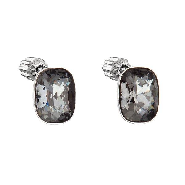 Stříbrné náušnice pecka s krystaly Swarovski černý obdélník 31279.5 31279.5
