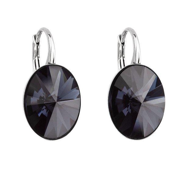Stříbrné náušnice visací s krystaly Swarovski černý ovál 31275.3 31275.3