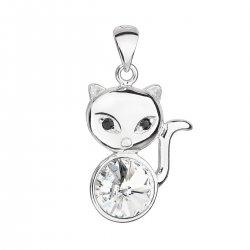 Stříbrný přívěsek s krystalem Swarovski bílá kočka 34235.1 34235.1