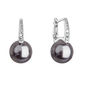 Stříbrné náušnice visací se Swarovski perlou a krystaly 31301.3 šedé 31301.3