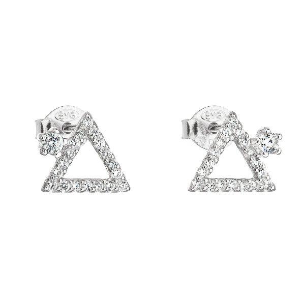 Stříbrné náušnice pecka se zirkonem bílý trojúhelník 11037.1 11037.1
