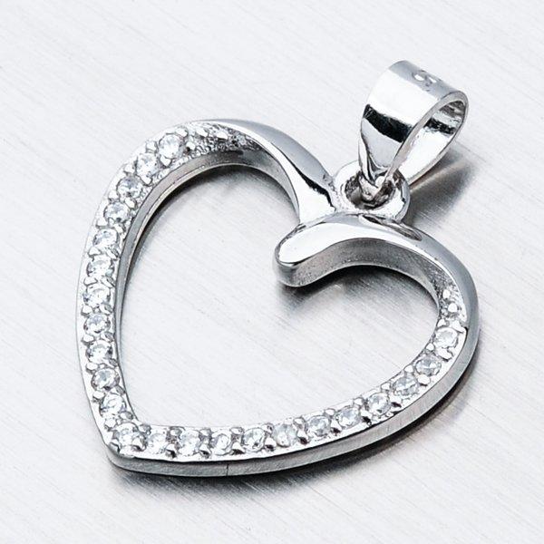 Stříbrný přívěsek srdce HST-13205