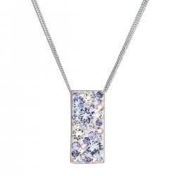 Stříbrný náhrdelník se Swarovski krystaly fialový obdélník 32074.3 violet 32074.3