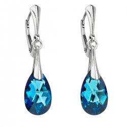 Stříbrné náušnice visací s krystaly Swarovski modrá slza 31215.5 31215.5