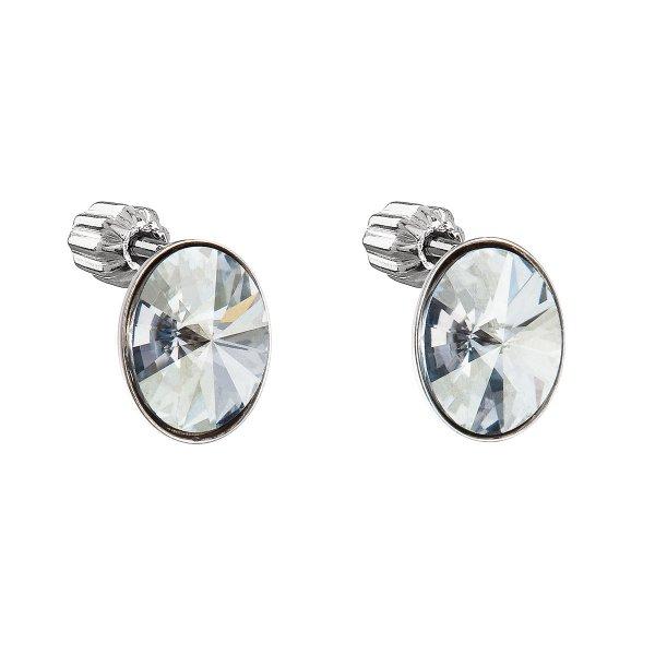 Stříbrné náušnice pecka s krystaly Swarovski modrý ovál 31274.5 31274.5