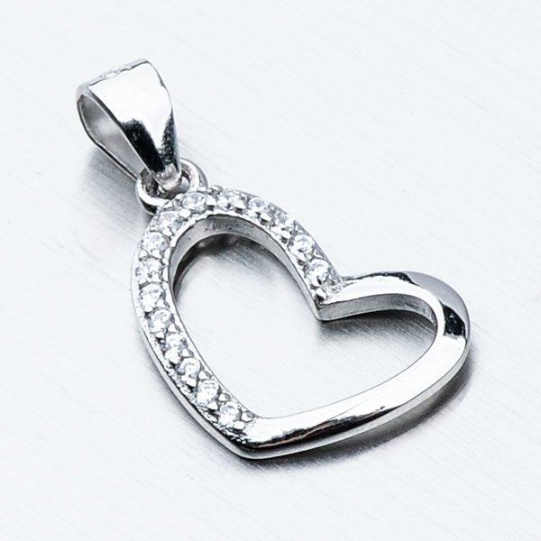 Stříbrný přívěsek srdce HST-13203