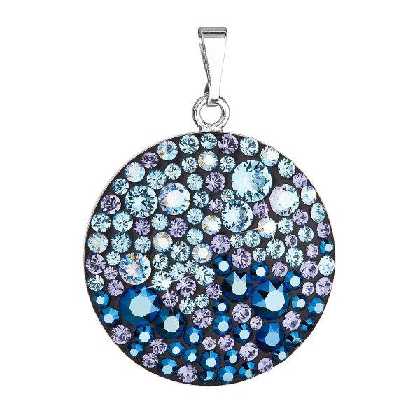 Stříbrný přívěsek s krystaly Swarovski modrý kulatý 34131.3 blue style 34131.3