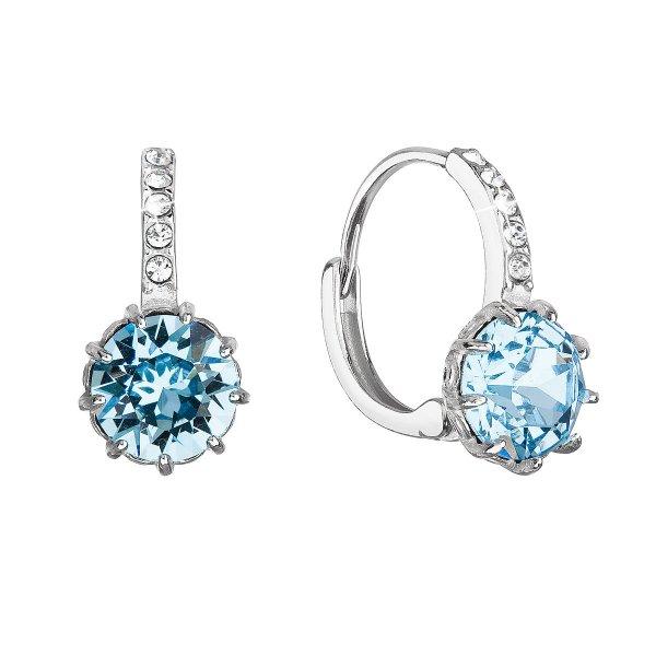 Stříbrné náušnice visací se Swarovski krystalem kulaté modré 31302.3 31302.3