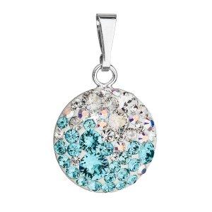 Stříbrný přívěsek s krystaly Swarovski modrý kulatý 34225.3 light turquoise 34225.3