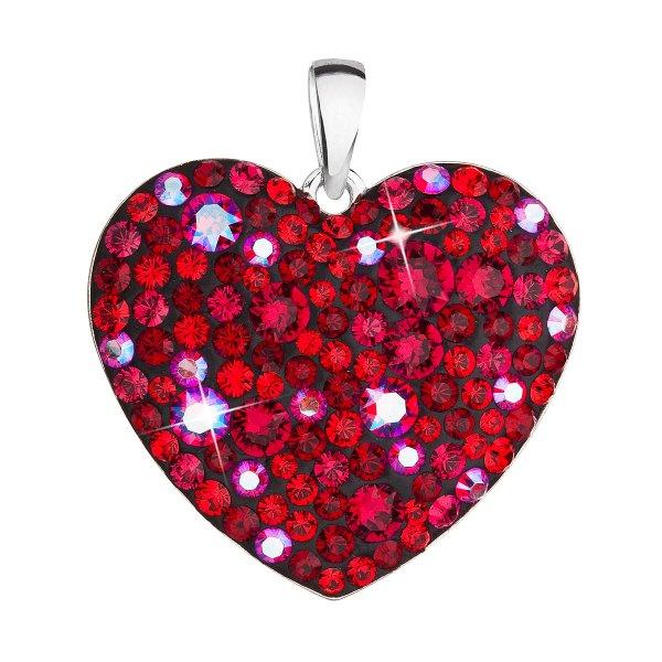Stříbrný přívěsek s krystaly Swarovski červené srdce 34243.3 cherry 34243.3