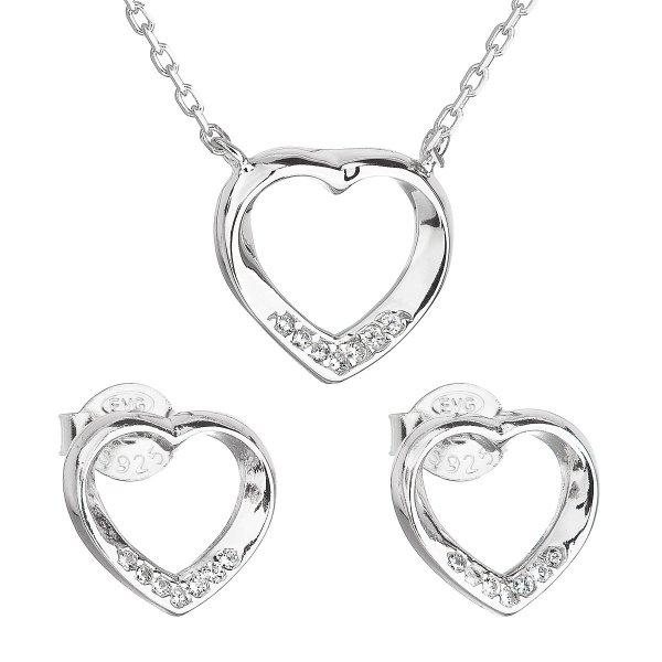 Sada šperků se zirkonem náušnice a náhrdelník bílé srdce 19019.1 19019.1