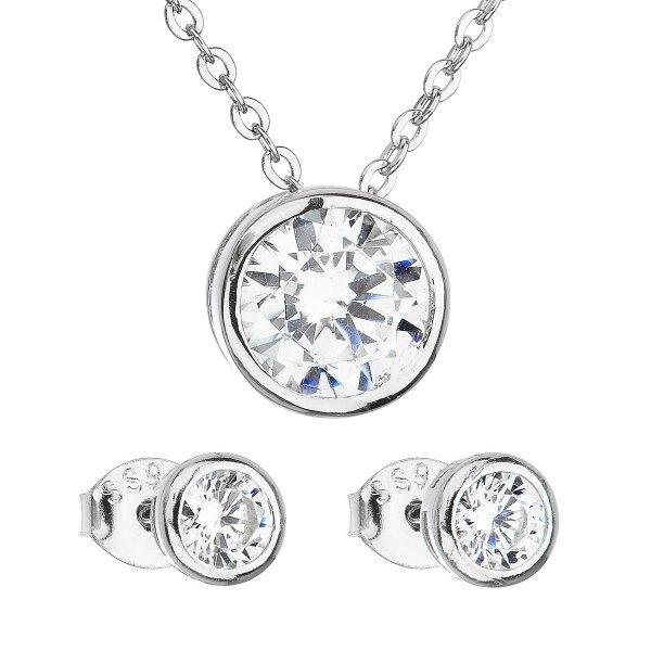 Sada šperků se zirkonem v bílé barvě náušnice a náhrdelník 19006.1 19006.1