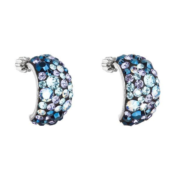 Stříbrné náušnice visací s krystaly Swarovski modré půlkruh 31164.3 blue style 31164.3