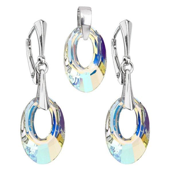 Sada šperků s krystaly Swarovski náušnice a přívěsek AB efekt ovál 39082.2 39082.2-001AB
