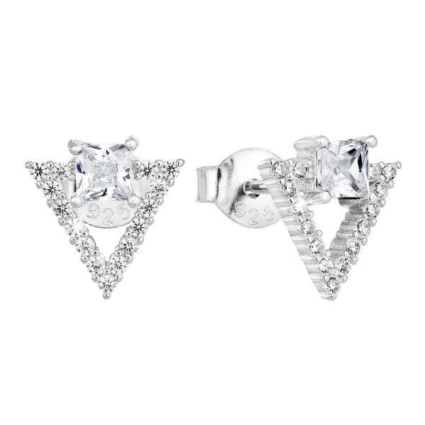 Stříbrné náušnice pecka se zirkonem bílý trojúhelník 11150.1 11150.1