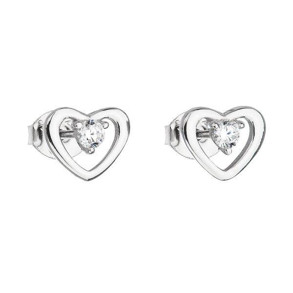 Stříbrné náušnice pecka se zirkonem bílé srdce 11091.1 11091.1