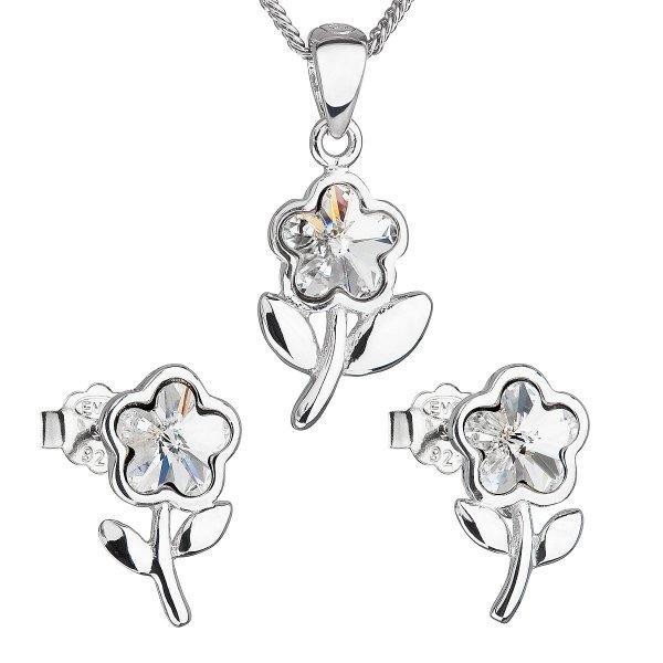 Sada šperků s krystaly Swarovski náušnice,řetízek a přívěsek bílá kytička 39172.1 39172.1