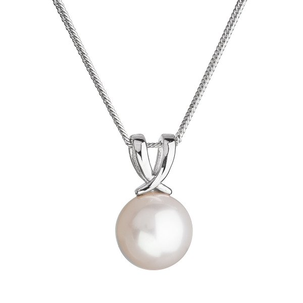 Stříbrný náhrdelník s kulatou říční perlou bílý 22032.1 22032.1