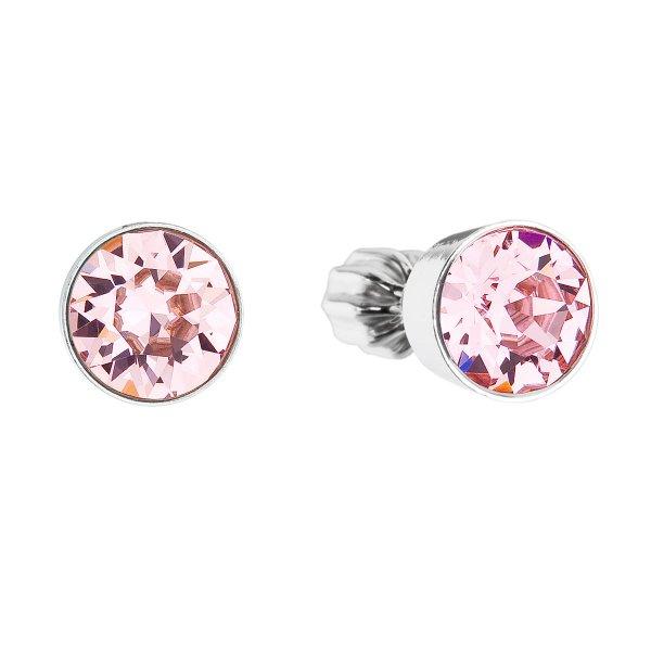 Stříbrné náušnice pecka se Swarovski krystaly růžové kulaté 31113.3 light rose 31113.3