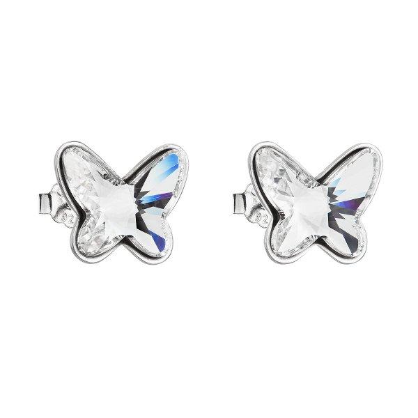 Stříbrné náušnice pecka s krystaly Swarovski bílý motýl 31251.1 31251.1