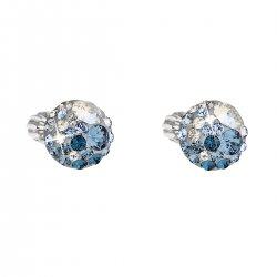 Stříbrné náušnice pecka s krystaly Swarovski modré kulaté 31336.3 ice blue 31336.3