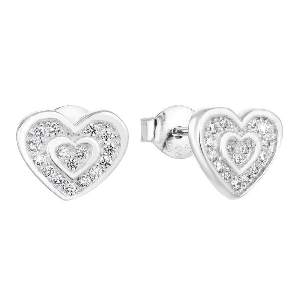 Stříbrné náušnice pecka se zirkonem bílé srdce 11025.1 11025.1