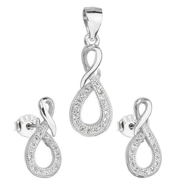 Sada šperků se zirkonem v bílé barvě náušnice a přívěsek 19012.1 19012.1